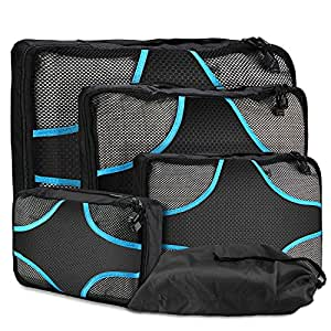 ProCase Packing Cubes for Travel, 4 Piece Packing Cubes Set Lightweight Compression Travel Luggage Packing Organizers with Shoe Bag –Black