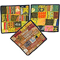 3 Indian Pillow Cover Sari Pillowcases Patchwork Embroidered Cushion Cover Home Decor