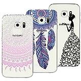 Yokata [3 Packs Samsung Galaxy S6 Edge Hülle Silikon Transparent Durchsichtig Handyhülle Schutzhülle TPU Dünn Slim Kratzfest mit Motiv - Mandala + Feder + Mädchen und Schmetterling