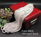 #6: Satyam Kraft moti (white)(8 mm) 1200 PCS PEARL, Crafts Plastic Pearl Beads for Beading DIY Jewellery