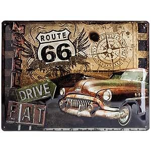 Plaque de Décoration en Métal - Design Retro - Vintage Route 66 Road Trip