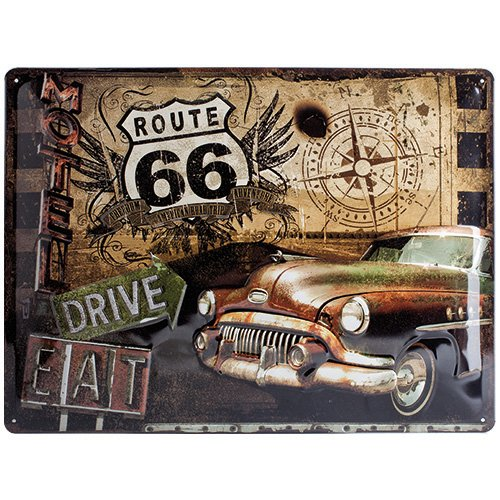 Nostalgic-Art 23147 US Highways - Route 66 Road Trip, Blechschild 30x40 cm (Metall-schilder Der Route 66)