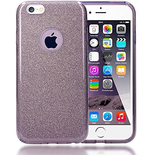 iPhone 6 6S Hülle Handyhülle von NICA, Glitzer Ultra-Slim Silikon-Case Back-Cover Schutzhülle, Glitter Sparkle Handy-Tasche Bumper, Dünnes Bling Strass Phone Etui für Apple i-Phone 6S 6 - Regenbogen Grau
