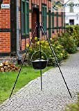 Dreifuß-Grill aus schwarzem Stahl, 180 cm inkl. Naturguss-Topf