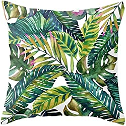 Housse de Coussin Intérieur Extérieur Taie d'Oreiller Plantes Vertes Jardin Tropical avec Grande Feuille Bananier Décoration Pour Canapé Lit Voiture Chaise 45x45 cm