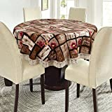 #5: E-Retailer Stylish Waterproof 4 Seater Round Table Cover with Leather Touch and White Lace (60 inch Diameter)