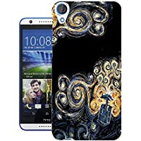 Moe-Cell Doctor Who Tardis Van Gogh Canvas Htc Desire 820 Carcasa de Gel de Silicona Case Cover