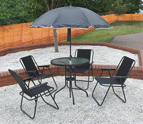 Garden Mile® Salon de jardin 6 pièces, Pour terrasse, jardin, Comprend une table à manger, 4chaises pliantes et 1 parasol.Ensemble de meubles de jardin noir avec 4 chaises.
