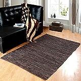 Homescapes Leder Teppich Läufer Denver braun 200 x 66 cm aus 100% recyceltem Leder