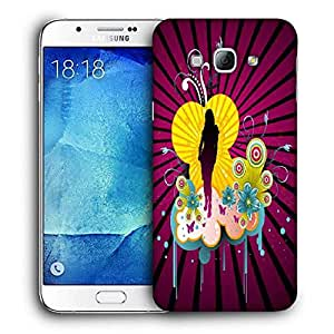 Snoogg Black Lady Printed Protective Phone Back Case Cover For Samsung Galaxy A8