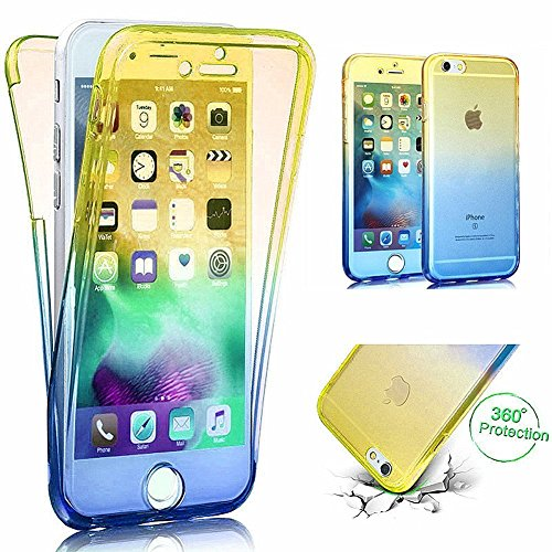 Coque iPhone 6, iPhone 6S Coque en Silicone, SainCat Ultra Slim Transparent Silicone Case Cover pour iPhone 6/6S, Crystal Clair Soft TPU Silicone Anti-Scratch Soft Transparent Gel Cover Coque Caoutcho Jaune + Bleu