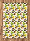 ABAKUHAUS Fiore Verde Moquette Tessuta Piatta, Design Applique, per Soggiorno Camera da Letto Sala da Pranzo, 120 x 180 cm, Multicolore