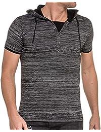 BLZ Jeans Tee-Shirt Noir Rayé à Capuche