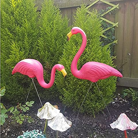 CRAVOG 2 X Plastic Pink Flamingos Decor Lawn Ornaments in Yard Garden Pond for Party Nature Beauty