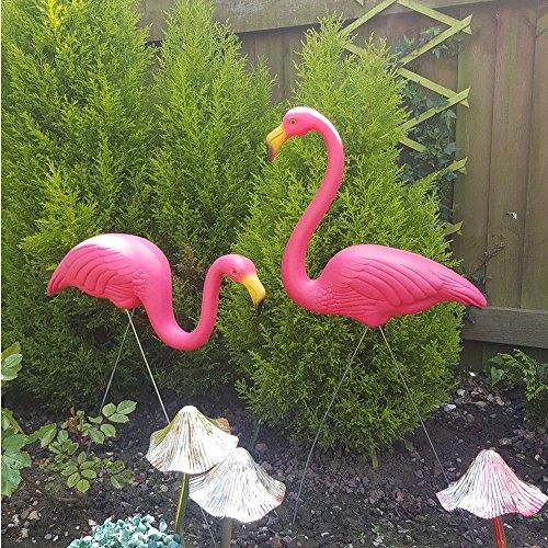 Cravog 2rosa Kunststoff-Flamingos, Rasendekor, Ornamente im Hof, Gartenteich, für Partys, Naturschönheit (Flamingos Hof Rosa)