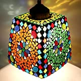 #1: EarthenMetal Handcrafted Trapezium Shaped Mosaic Crystal Decorated Glass Hanging Light