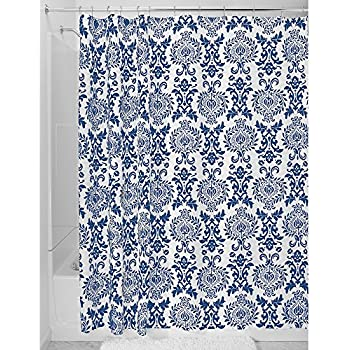 InterDesign Damask Fabric Shower Curtain, Shower Screen With Bold Pattern  Design, Polyester, Navy, 183 X 183 Cm