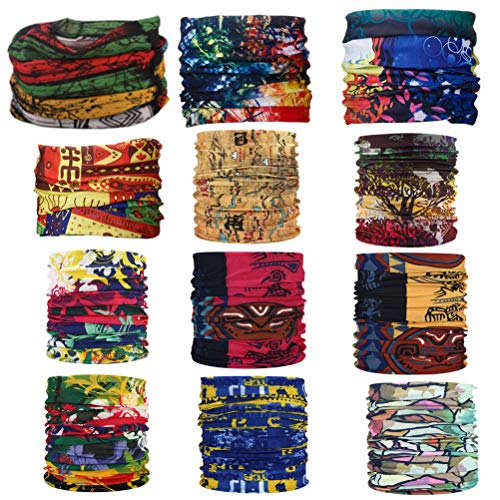 Topren multiuso fascia bandana scaldacollo foulard - datechip 12 in 1 sports buff scaldacollo, face shield, fascia capelli, balaclava, scaldacollo moto, donne, uomo, bambini