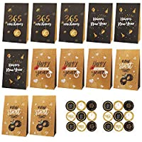 ‏‪Konsait New Years Eve Party Bags, 12pack Goodie Bags,Happy New Years Candy Bags, Treat Bags for Kids Birthday Happy New Year 2021 Party Decor, With 18pcs Fireworks,Clock Design Stickers‬‏