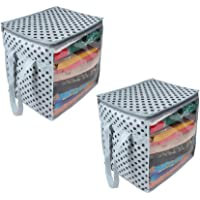 PrettyKrafts Saree Cover Organizer with Handles and Transparent Front (Grey Dots, 15 x 12 x 15 Inches/XL) - Pack of 2
