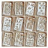 Hillento 12 Pezzi Disegno Stencil Pittura Modello in Scala Set per diario Bullet diario Notebook Inserti in Carta 8-Ring, Perfetto per la creazione di Bambini, progetti di Carta e Artigianato