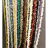 "Eshoppee 35"" String Natural Stone Chips Cabochon Gemstone Gems Loose Beads Strand Mala Necklace Set Of 14 Stones Tiger Eye"" Lapis Lazuli, Carnelian, Black, White Ranbow, Moon Stone, Amethyst, Smoky Quartz, Green Jade, Rose Quartz, Crystal, Citri"