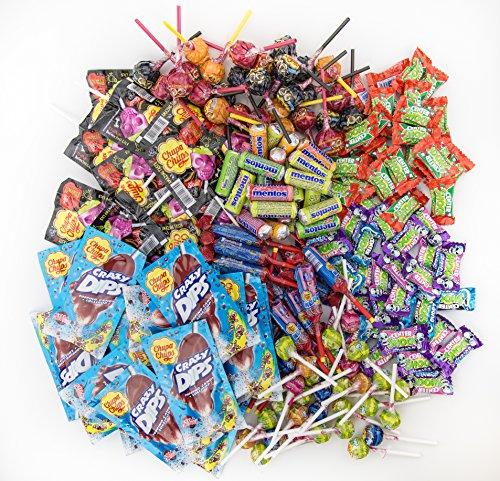 Chupa Chups Süßigkeiten Party-Mix, 200 Stück 1870 g, nur Markenware, Klassiker + Spezial-Artikel: Lutscher, Kau-Bonbons, Kaugummis