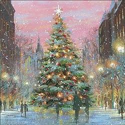 Tarjetas de Navidad de caridad a beneficio de la sociedad nacional autística - el árbol de la ciudad - Pack de 8 tarjetas