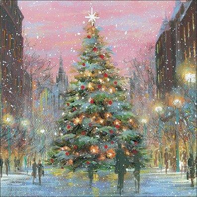 """Almanac Gallery ALM5189 - Biglietti di Natale di beneficenza, a favore dell'associazione britannica per l'autismo (National Autistic Society), soggetto: """"Albero di Natale della città"""", confezione da 8 biglietti"""