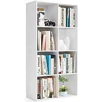 Meuble Rangement 8 Casiers Bibliothèques Salon pour Étagère Livres 65,5x29,5x128cm Blanc