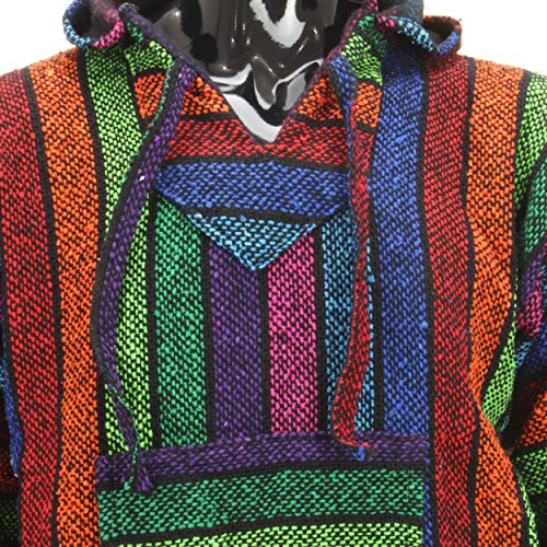Siesta-Mexican-Baja-Jerga-hooded-hippie-jumper-Rainbow