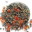 Jewellery Making Kit - Memory wire bracelet - Glass beads - Make your own - Orange & Grey - Tilly-Mojo