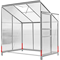 Deuba Polycarbonate Lean to Greenhouse with Foundation Window Vent 190x120x183cm Aluminium Grow House lean-to Greenhouses with Base