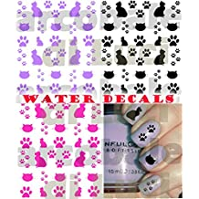 AWS Juego Water Decals Wipe gato Huellas foglietto cachorro gatito uñas Nail Art pegatinas Silhouette Transferencia de Agua Sheet of Cat Paw Stickers Transfer pegatinas cute puppy pata variantes de color cat' S Paws adhesivo, negro