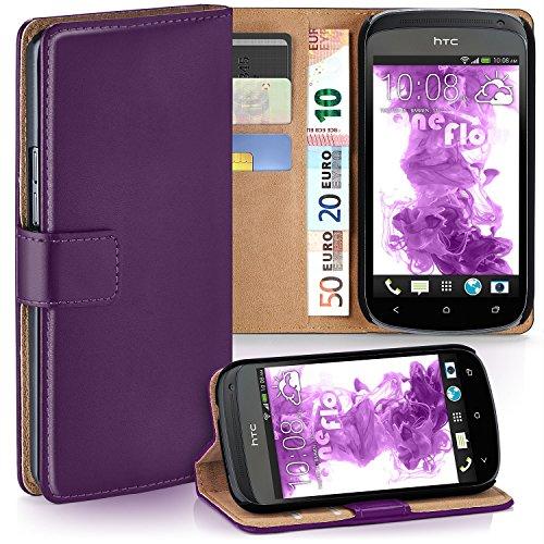 moex HTC One S | Hülle Lila mit Karten-Fach 360° Book Klapp-Hülle Handytasche Kunst-Leder Handyhülle für HTC One S Case Flip Cover Schutzhülle Tasche