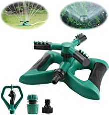 Rasensprenger, Yokunat 360 ° 3-Arm drehbar Garten Wasser stylischer System mit 2 verschiedene Düse Modi (grün)