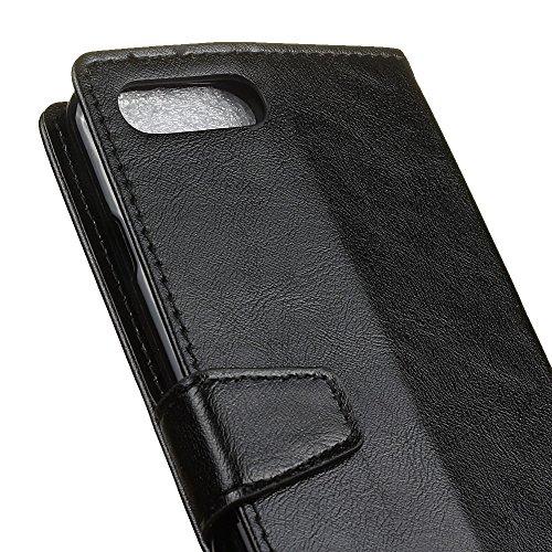 """MOONCASE iPhone 7 Coque, [Haute Protection] Housse en Prime Cuir Etui à rabat pour iPhone 7 4.7"""" Portefeuille Porte-cartes TPU Case avec Béquille Noir Noir"""
