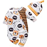 0-12 Meses,SO-buts Recién Nacido Infantil Bebé Niños Niñas Manga Larga Estampado Animal Mono Mameluco Sombrero Conjuntos Pija