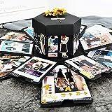 EKKONG Kreative Überraschung Box Explosions-Box DIY Faltendes Fotoalbum,Geschenkbox mit 6 Gesichtern,Geburtstag Jahrestag Valentine Hochzeit Geschenk, für Hochzeit, Muttertag, DIY Geschenk (schwarz) Test