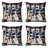 meSleep Gun Digital Kissenbezug, Bedruckt-Set von 4PCS Weiß Sofa Kissenbezug Taille Überwurf Deko Set für Sofa, Bett, Stuhl Art Deco 18