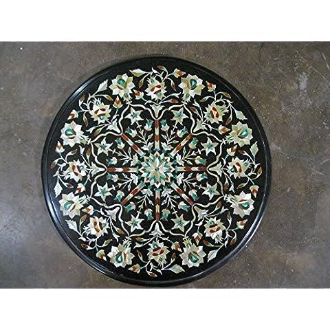 """13,5""""Nero, pietre semi preziose intarsiato forma rotonda tavolino divano tavolino home office Decor marmo tavolo"""