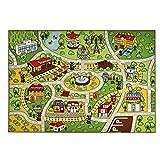 FLOWood Spielteppich Straße, Stadt Kinder Spiel Teppich Junge, Straßendesign Kinderzimmer Kinderteppich 125X175cm