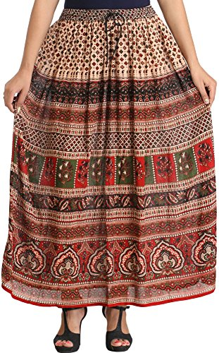 Exotic India Cream and Maroon Elastic Long Skirt with Jamawar Print - Red  available at amazon for Rs.729