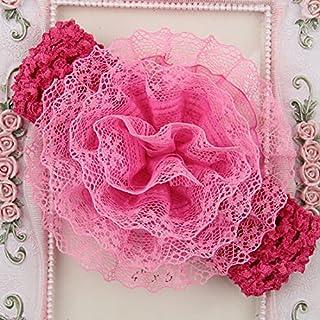 ASTrade Baby Toddler Infant Lace Flower Headbands Elastic Hair Band Stoff Cute weich Zubehör mit Kopfbedeckungen rosarot