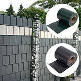 RMAN - PVC Sichtschutzstreifen Anti-UV Rolle 450g/m² Diverse Farben - inkl. 25 Clips - Extra Dick Blickdicht (Anthrazit, 35)