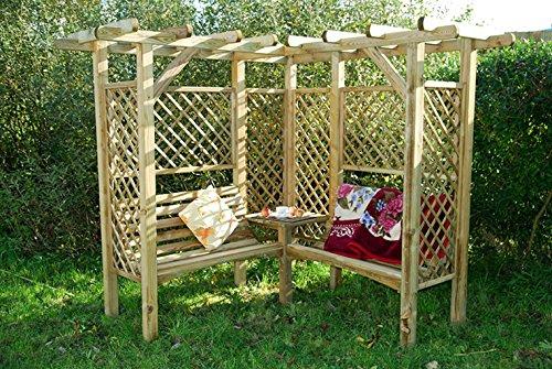 Milton Pergola mit Bank. Rosenbögen aus Fichtenholz für Ihren Garten