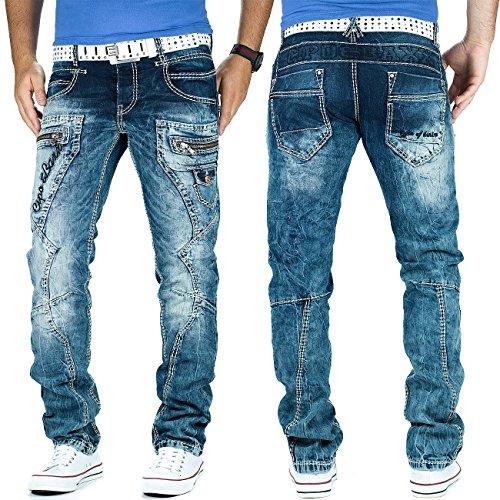 Cipo & Baxx Herren Jeans Dicke Naht Streetwear Blau