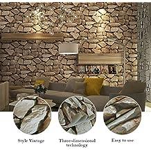 KINLO® 0.53 * 10M 3D Papel Pintado del Tridimensional Piedra Patrón de Mármol - Marrón Claro