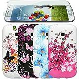 zkiosk 340 Design Auswahl 1 Schmetterling Blumen Silikon Schutzhülle für Samsung Galaxy S3 mini i8190 (4-er Pack) rosa/lila/blau/weiß/schwarz