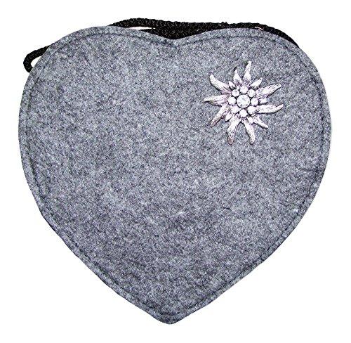 Herz Trachtentasche mit Edelweiß Hellgrau